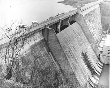 One of the dams of the Tennessee Valley, taken during the 1955 field trip. Photograph by Charles Trinkaus.