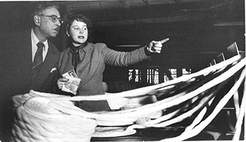 Bert James Loewenberg with Judith Thompson '54 visiting a textile mill during the 1951 trip.