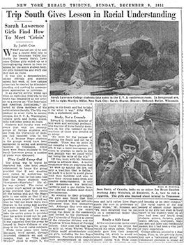 New York Herald Tribune, Sunday, December 9, 1951. (Sarah Lawrence College Archives)