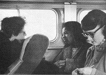 (l-r) Edith Yalden-Thomson, Joan Berry '55, and Eve Dahnken '52 on the bus during the 1951 trip.