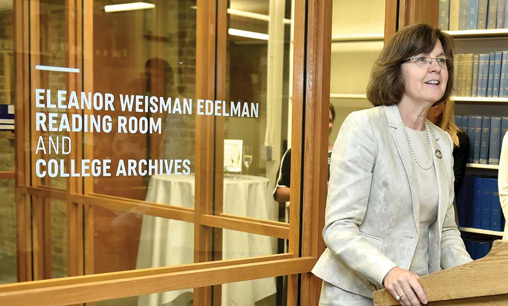President Judd speaks at the dedication of the Eleanor Weisman Edelman Reading Room and College Archives