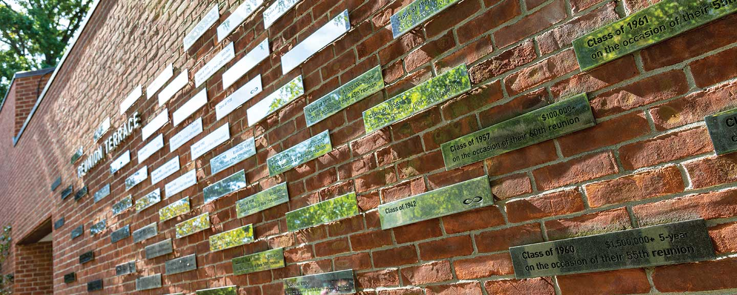 Plaques on a brick wall