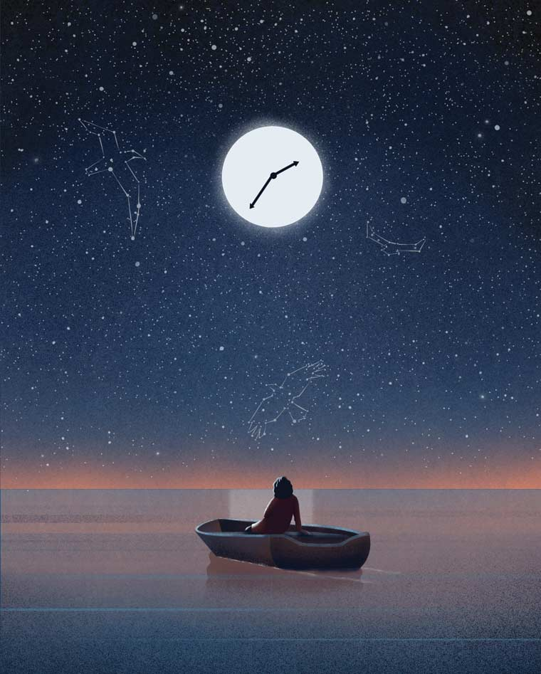 Illustration of moon with clock face shining on water with a figure in a boat looking at the sky with constellations outlined.