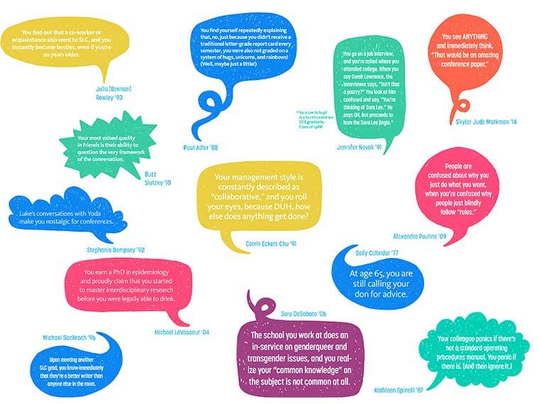 Illustration of speech bubbles containing social media posts