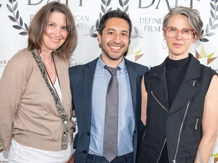 Serrano with <em>Forbidden</em> filmmaker Tiffany Rhynard (right) and editor Heather (Wedvick) Mathews '95 at the 2017 Define American Film Festival in Charlotte, North Carolina