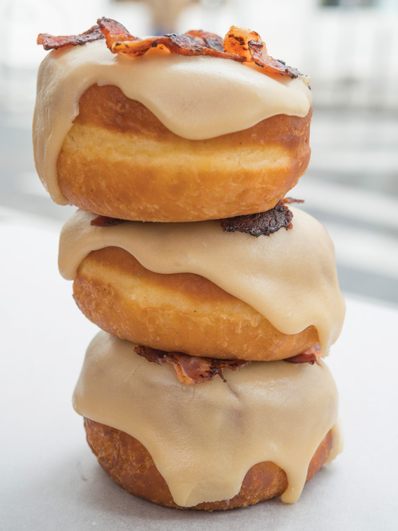 A stack of Bankert's mouthwatering maple-bacon doughnuts.