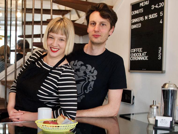 Amanda Bankert '03 and her husband, Louis Scott, in their shop at 77 rue d'Aboukir in Paris.