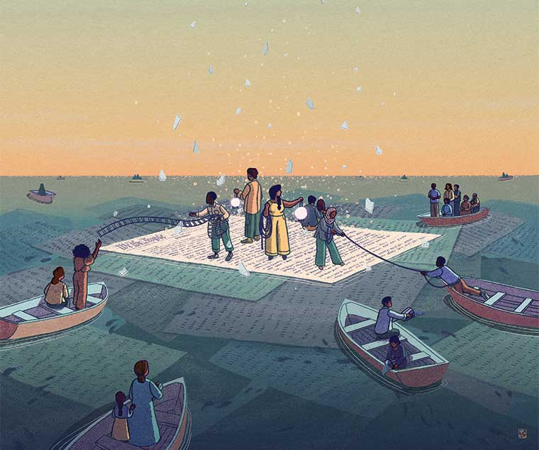 Illustration of people and boats