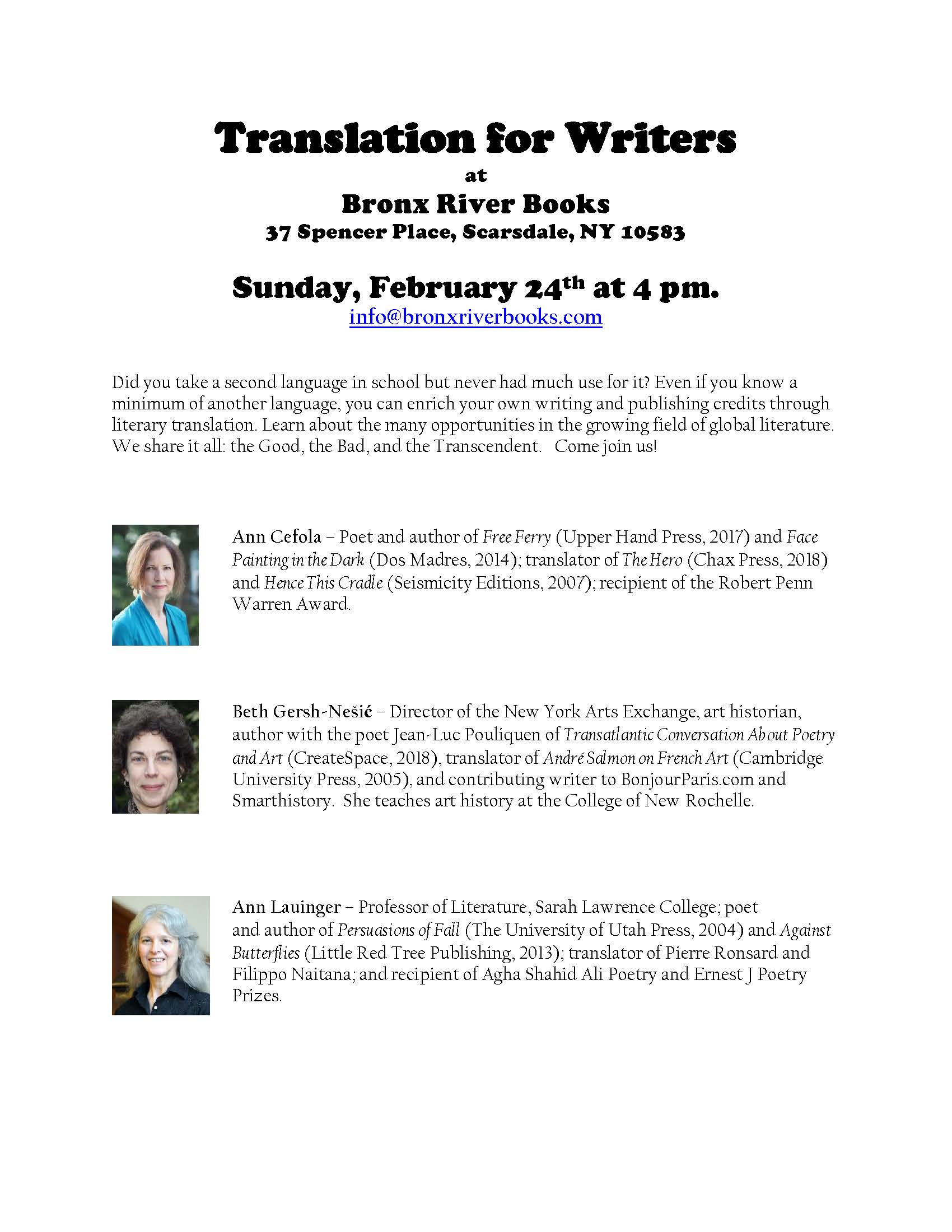 aaac0326f85 Translation for Writers event flyer