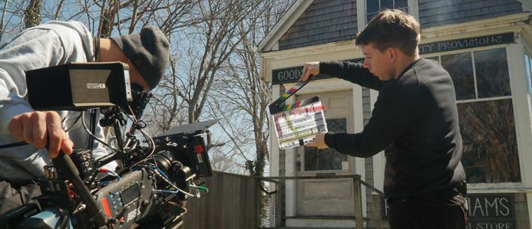 Two film students preparing to record a scene