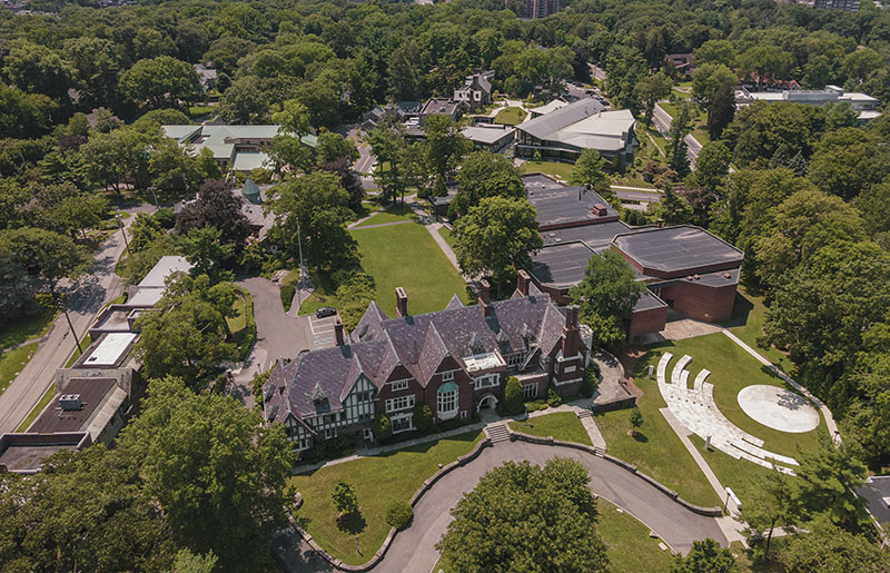 Aerial photo of the Sarah Lawrence campus