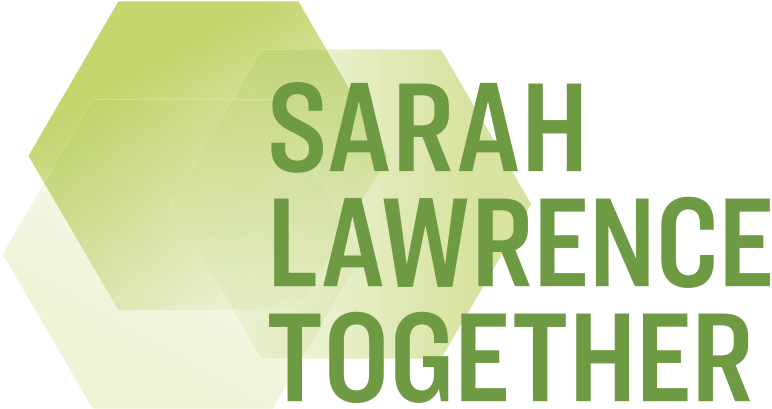 Logo with overlapping hexagons and text: Sarah Lawrence Together