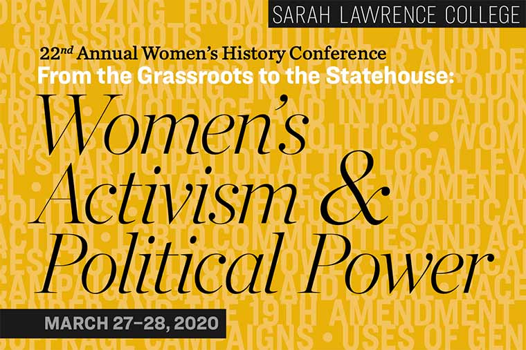 Artwork with typography and logo for Women's History conference