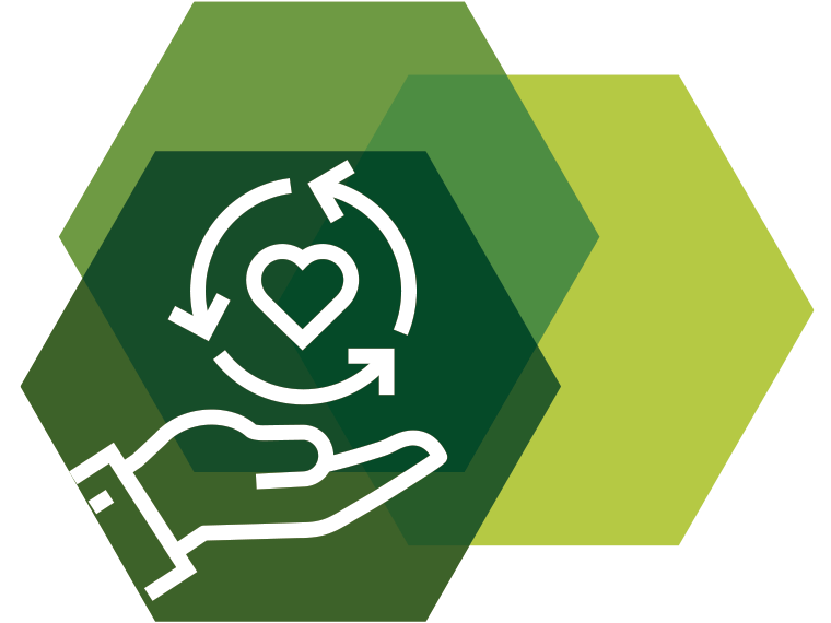 Icon showing a symbol of a hand hold a heart