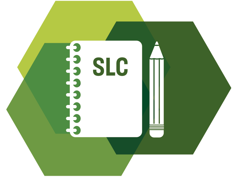Icon showing a notebook and pencil