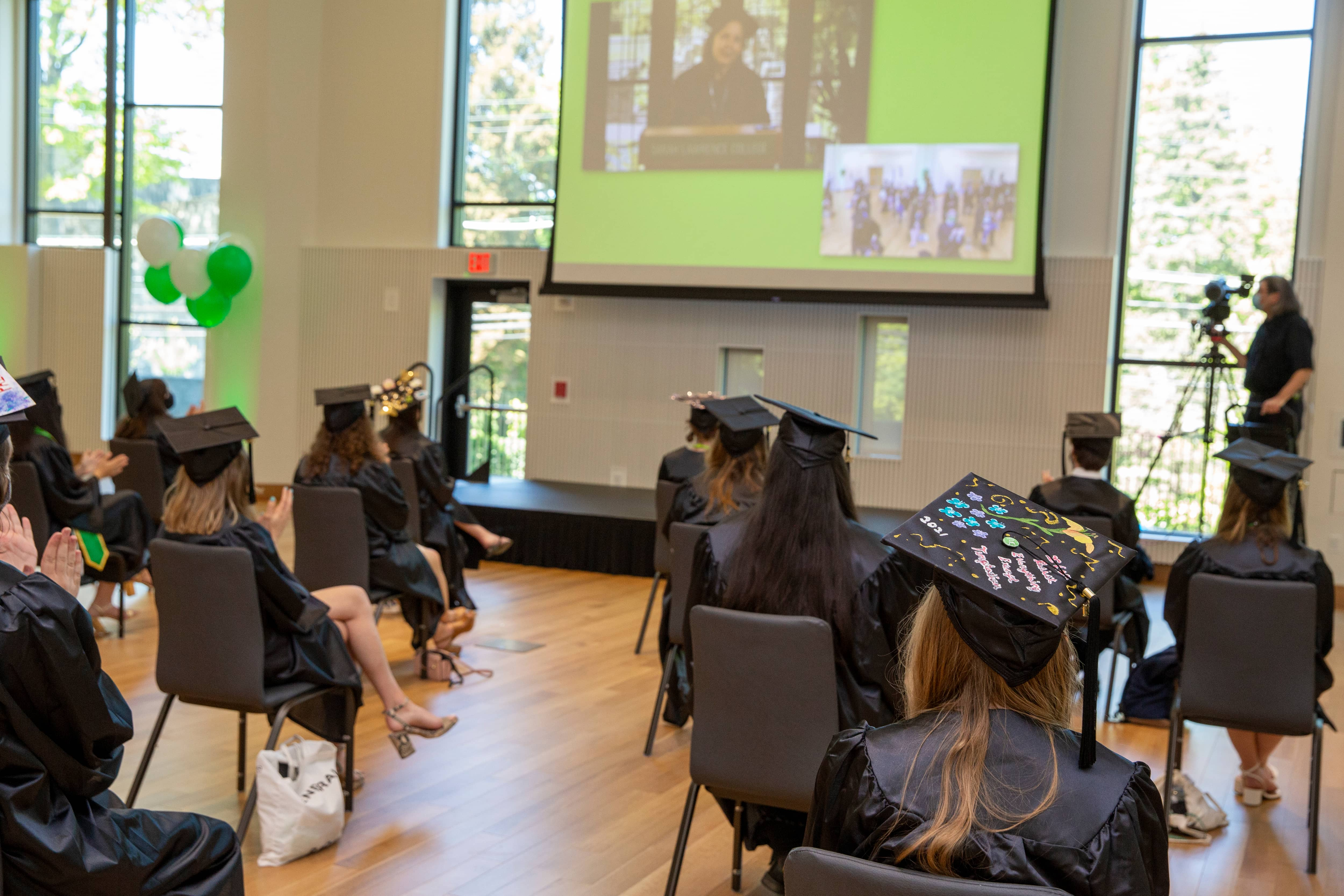 Students participated in the undergraduate commencement ceremony from campus and from around the world