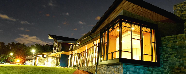 The Barbara Walters Campus Center at night