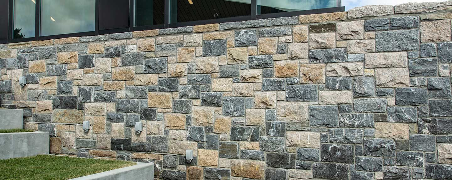 Detailed look at exterior materials of the Barbara Walters Campus Center