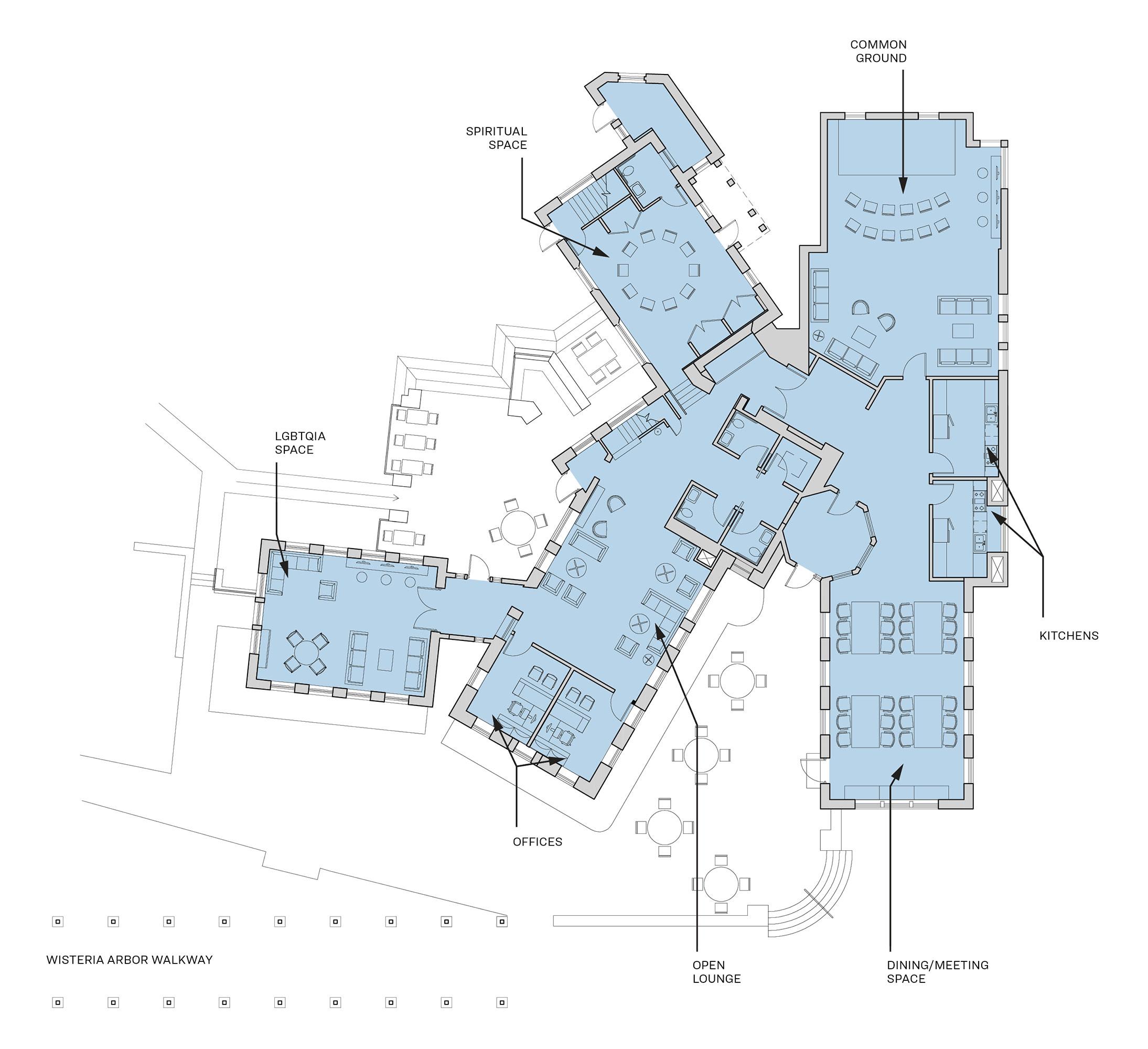 Floor plan depicting proposed updates to The Pub