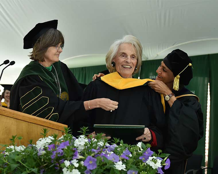 President Judd and Provost Singh conferring honorary degree upon Joan Marks