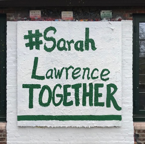 Painted wall with #SarahLawrenceTogether on it
