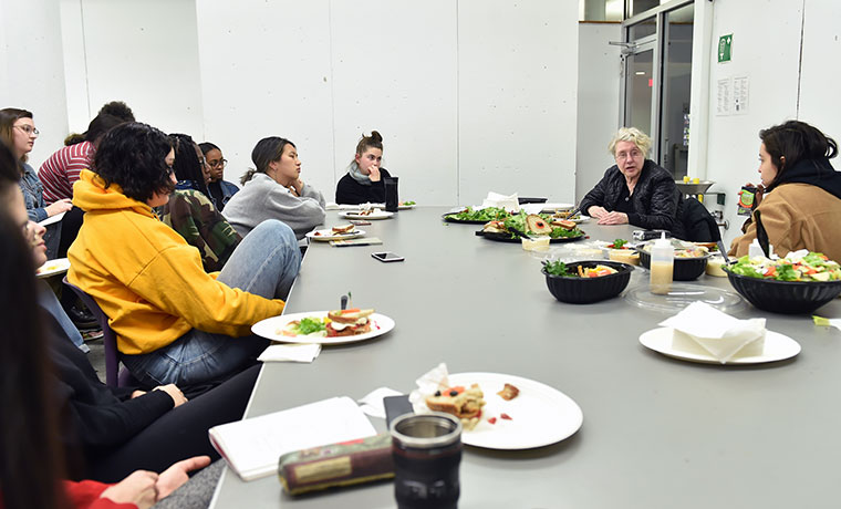 Martha Rosler at dinner with Sarah Lawrence College students