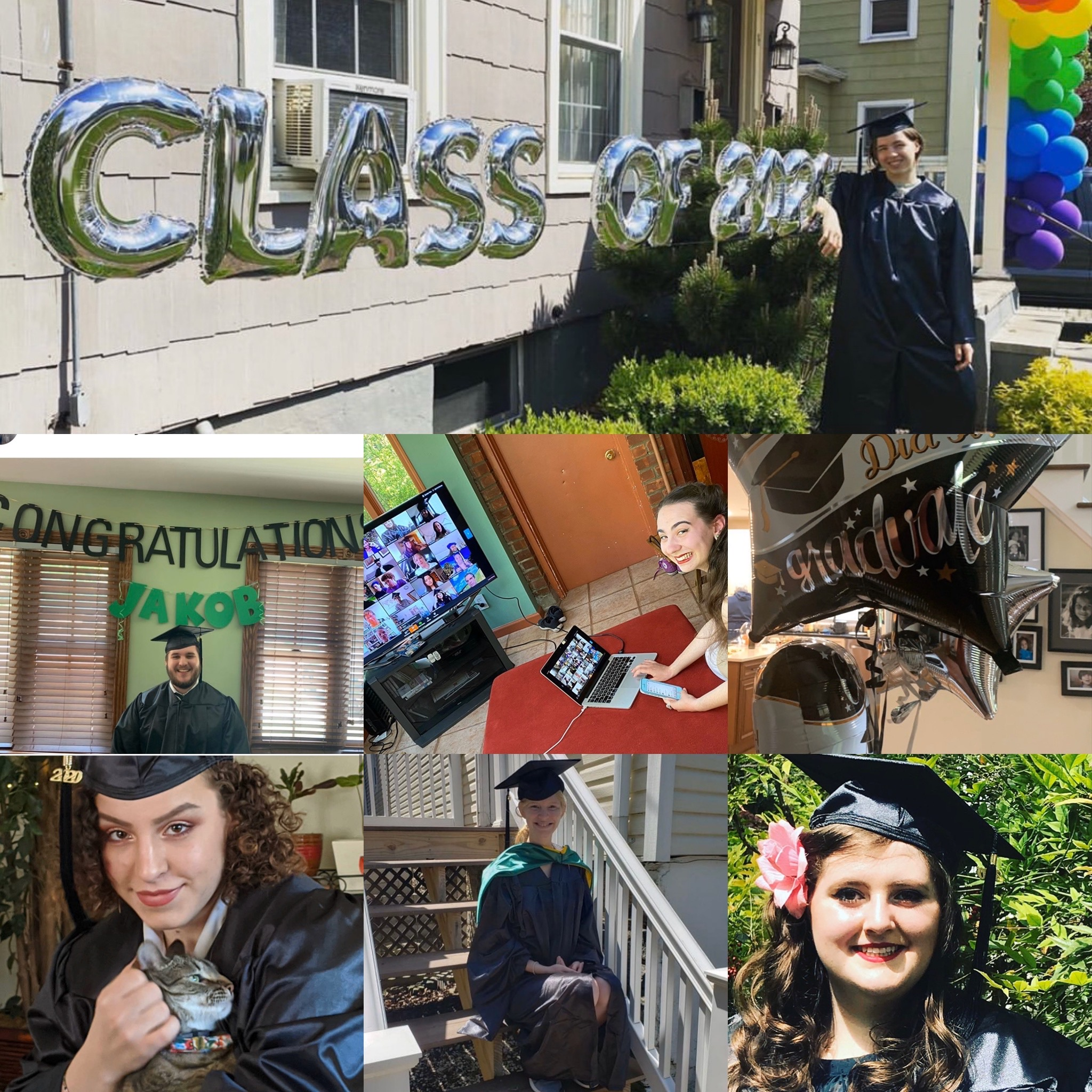 Members of the Sarah Lawrence College class of 2020 in their festive regalia at home celebrating commencement