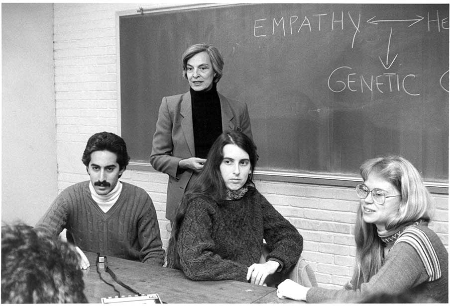 Joan Marks in class with students
