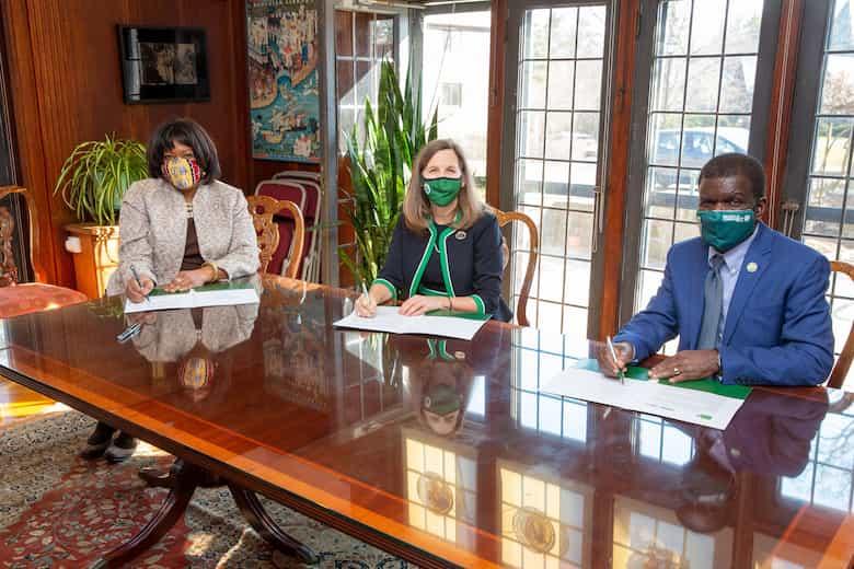 President Judd joined by WCC president Dr. Belinda Miles and BCC president Dr.Thomas Isekenegbe