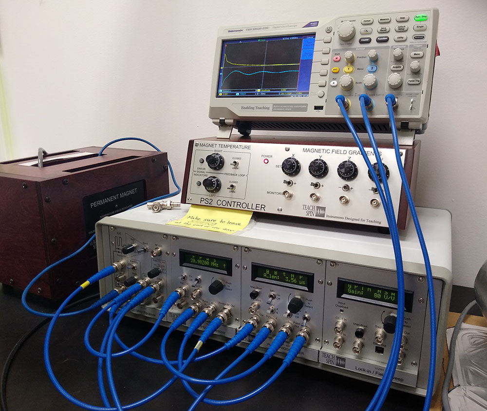 One of Sarah Lawrence's two benchtop MNR spectrometers