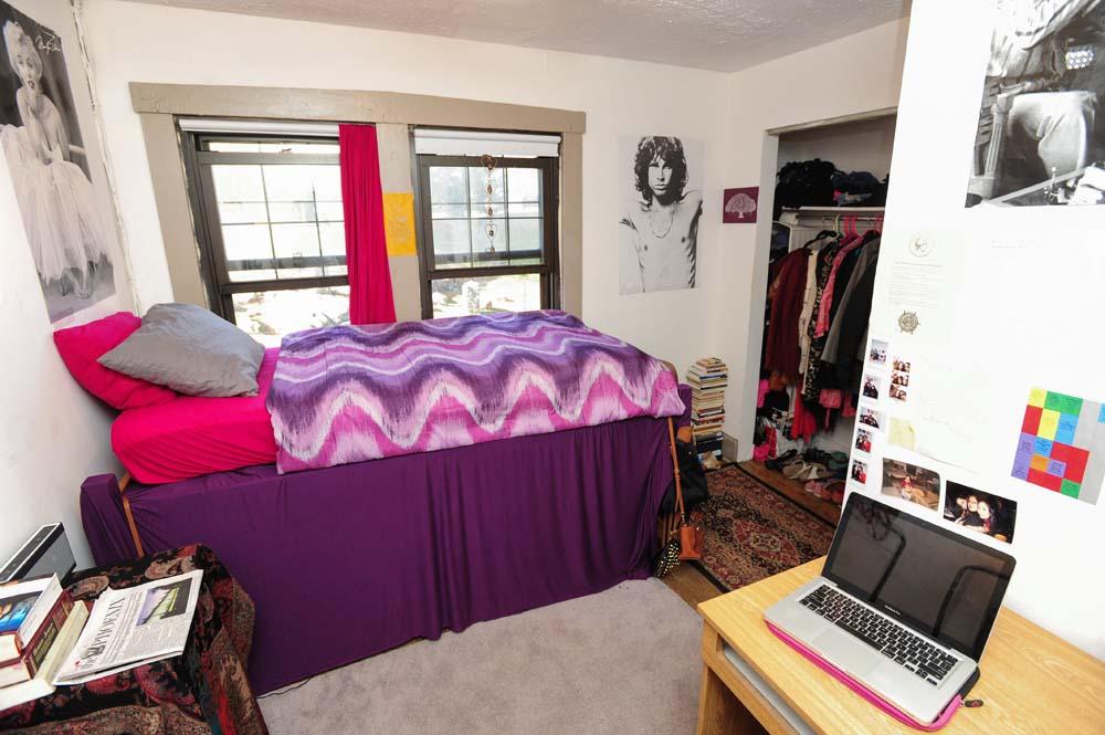 Perkins single dorm room with closet
