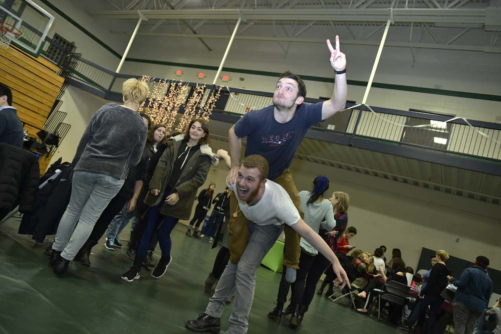 students at the Winter Carnival playing in the gym