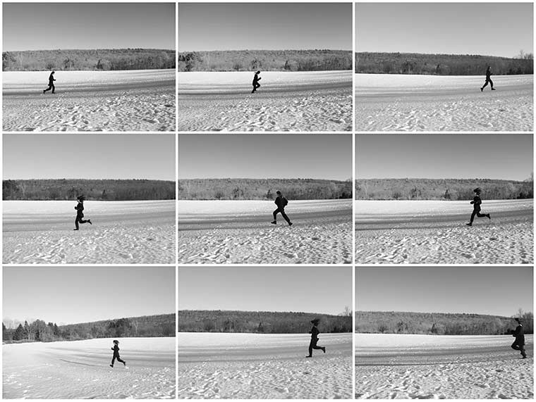 Nine black and white photographs of person running in snow