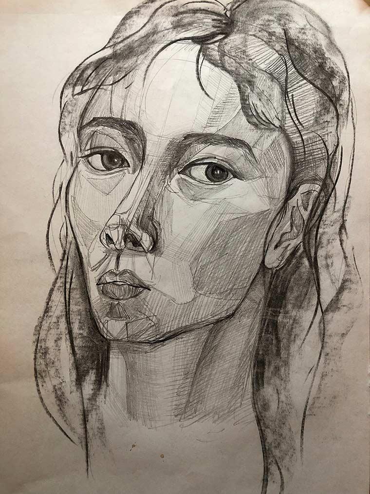 Wang self portrait, pencil on paper