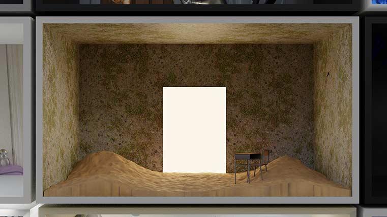 3-D model of desk inside empty room