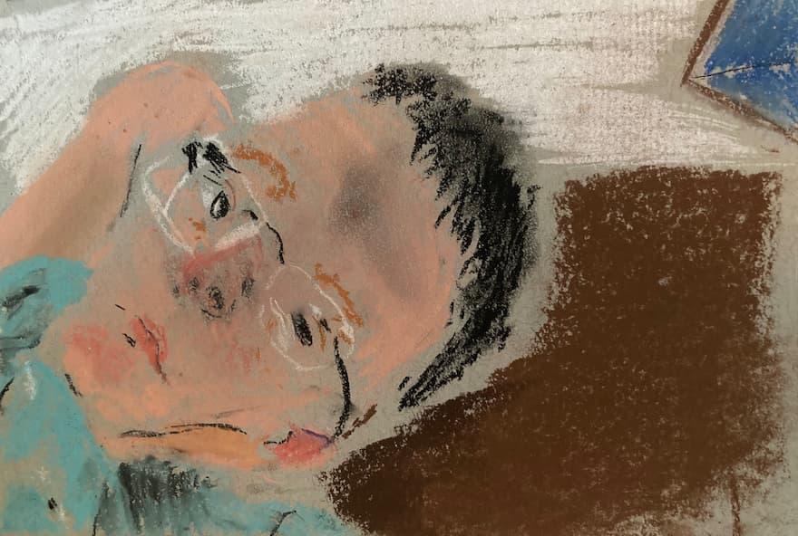 Davar's chalk pastel on paper
