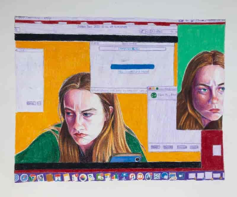 Mitchell, Digital Image of an Image of a Digital Image: colored pencil on paper