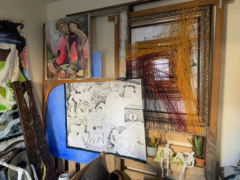 McEachern, 2 Untitled Incomplete Amalgamation:  Construction of wooden pallets, repurposed door frames, repurposed furniture, plasticine figures, oil paintings, ink drawings, collage, yarn