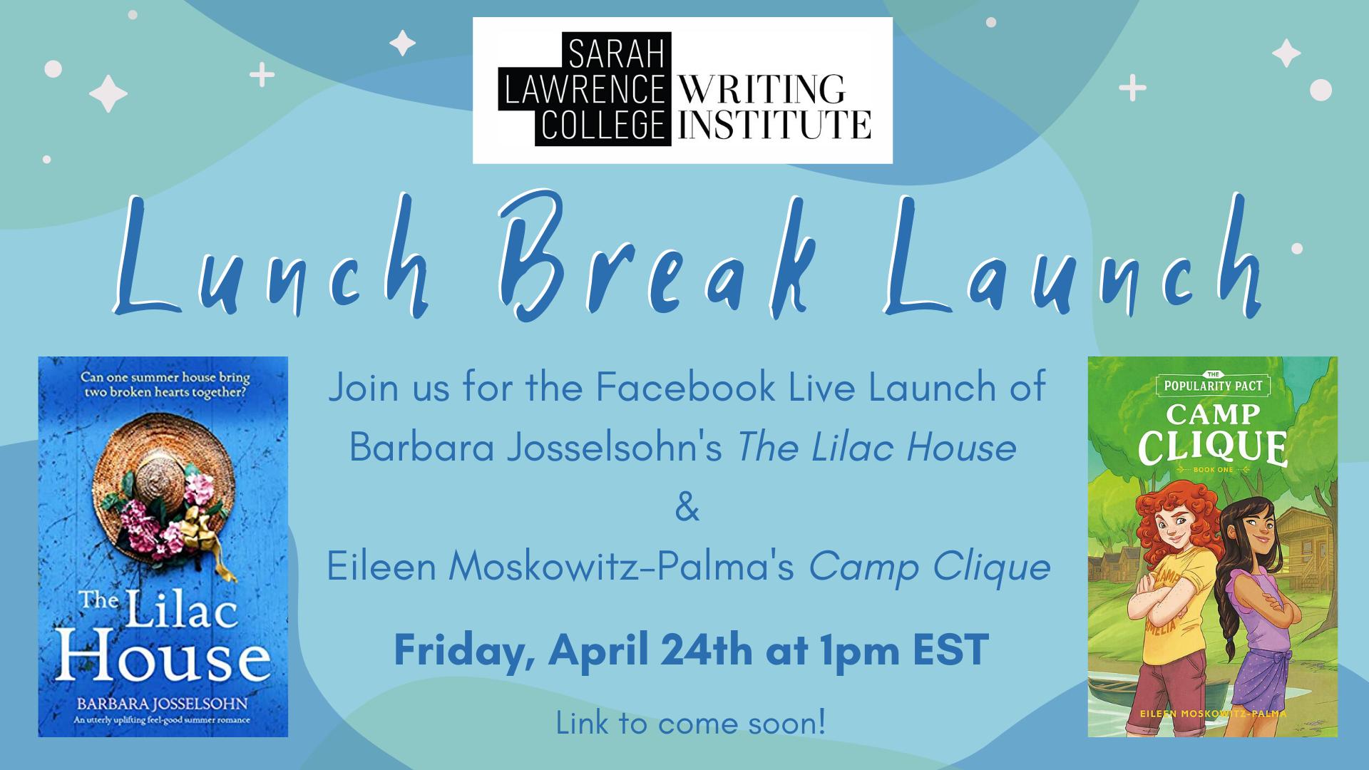 lunch break launch flyer for Eileen Palma and Barbara Josselsohn